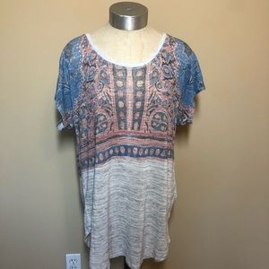 Lucky brand patterned tee boho top